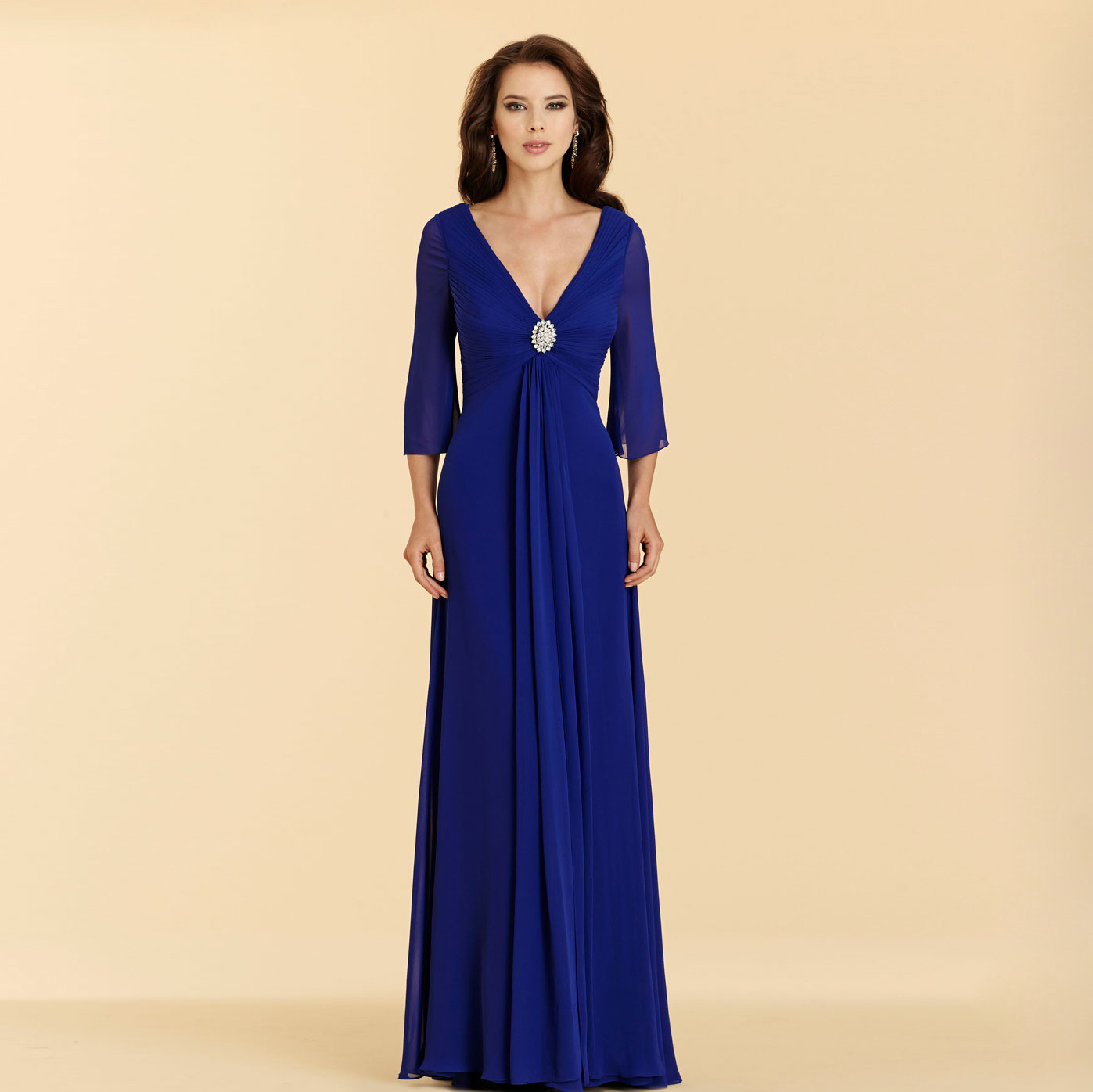 Z 2016 new arrival stock maternity plus size bridal gown evening z 2016 new arrival stock maternity plus size bridal gown evening dress long sleeve blue simple deep v neck sexy 090 in evening dresses from weddings ombrellifo Images