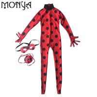Girls Miraculous Ladybug Child Zip Miraculous Ladybug Cosplay Costume Halloween Girls Lady Bug Spandex Full Lycra
