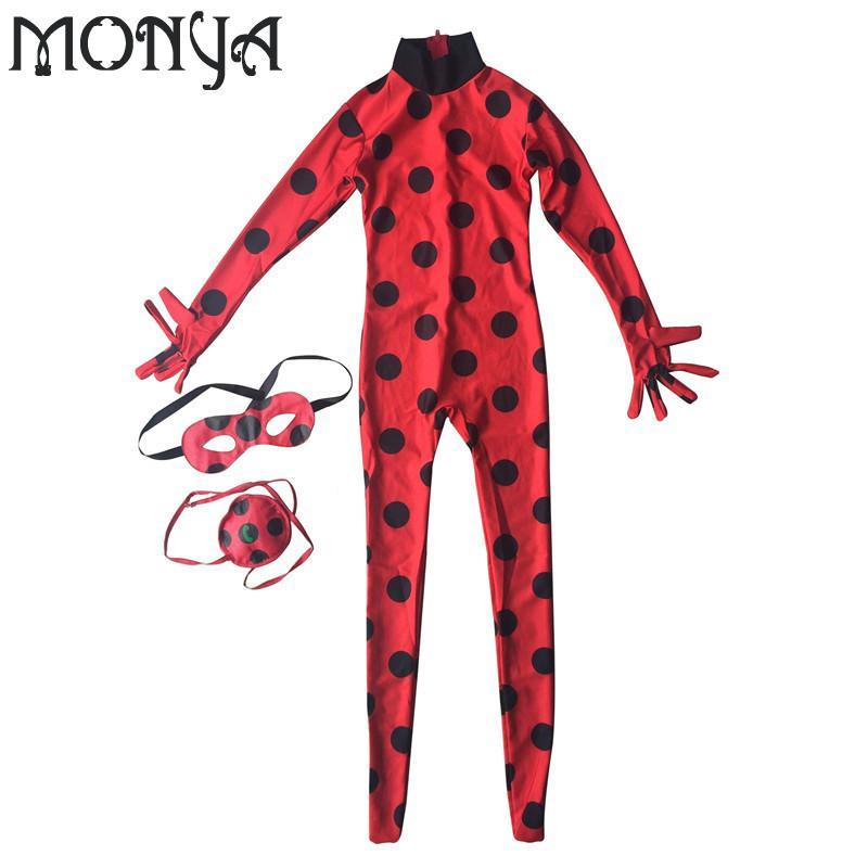 Lady bug kids Halloween Girls Miraculous Ladybug Girls Clothing Sets Costumes Ladybug Child Spandex Full Lycra Zentai Suit