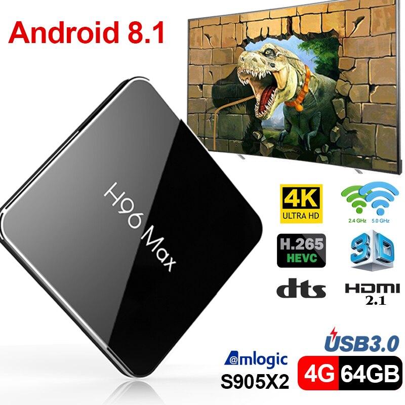 H96Max Android 8.1 Amlogic S905X2 LPDDR4 Quad Core 4 gb 64 gb 2.4g e 5 ghz Wifi BT 1000 m H.265 4 k Set top box boîtier de smart tv X96