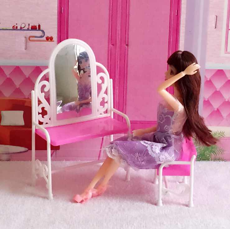 Fashion Dressing Table And Chair Set For Dolls Bedroom Plastic Drsser Furniture for Dolls Girls Kids Gift