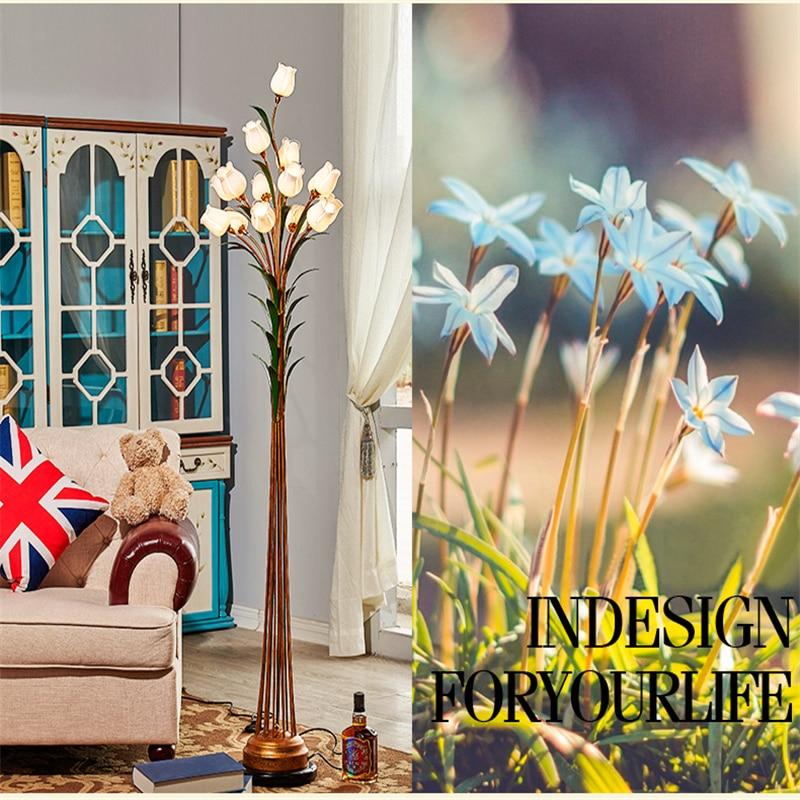 Lămpi de podea cu flori Lumină de podea din sticlă din fier forjat - Iluminatul interior