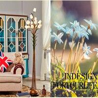 Flower Floor Lamps Wrought Iron Glass Art Deco Floor Lamp Warm Bedroom Light European Art Retro Floor Light