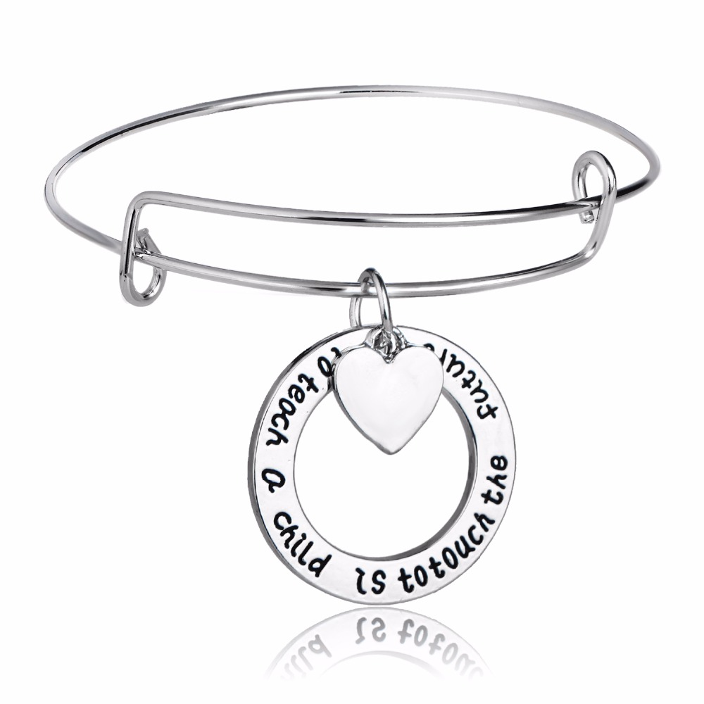 Thanksgiving Teachers Jewelry To Teach A Child Is To Touch The Future Love Heart Bangle Teachers Bangles School Teacher Gifts
