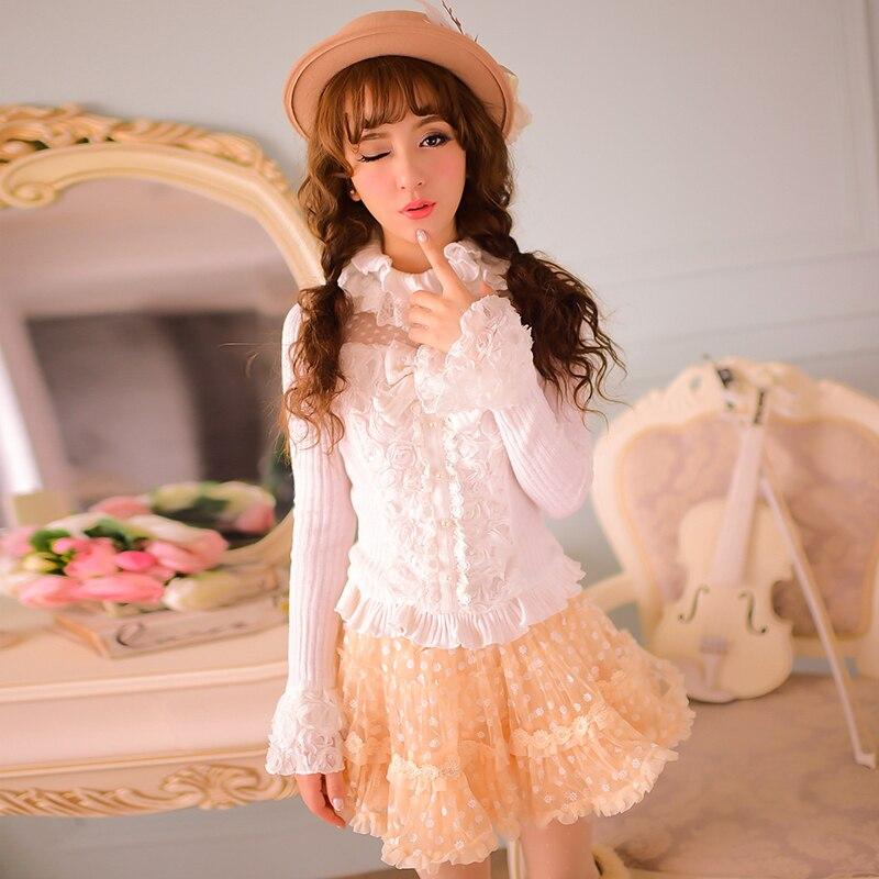 Princesse douce lolita chemise bonbons pluie style japonais original mignon princesse Lotus feuille col roulé chemise à tricoter C15CD5839