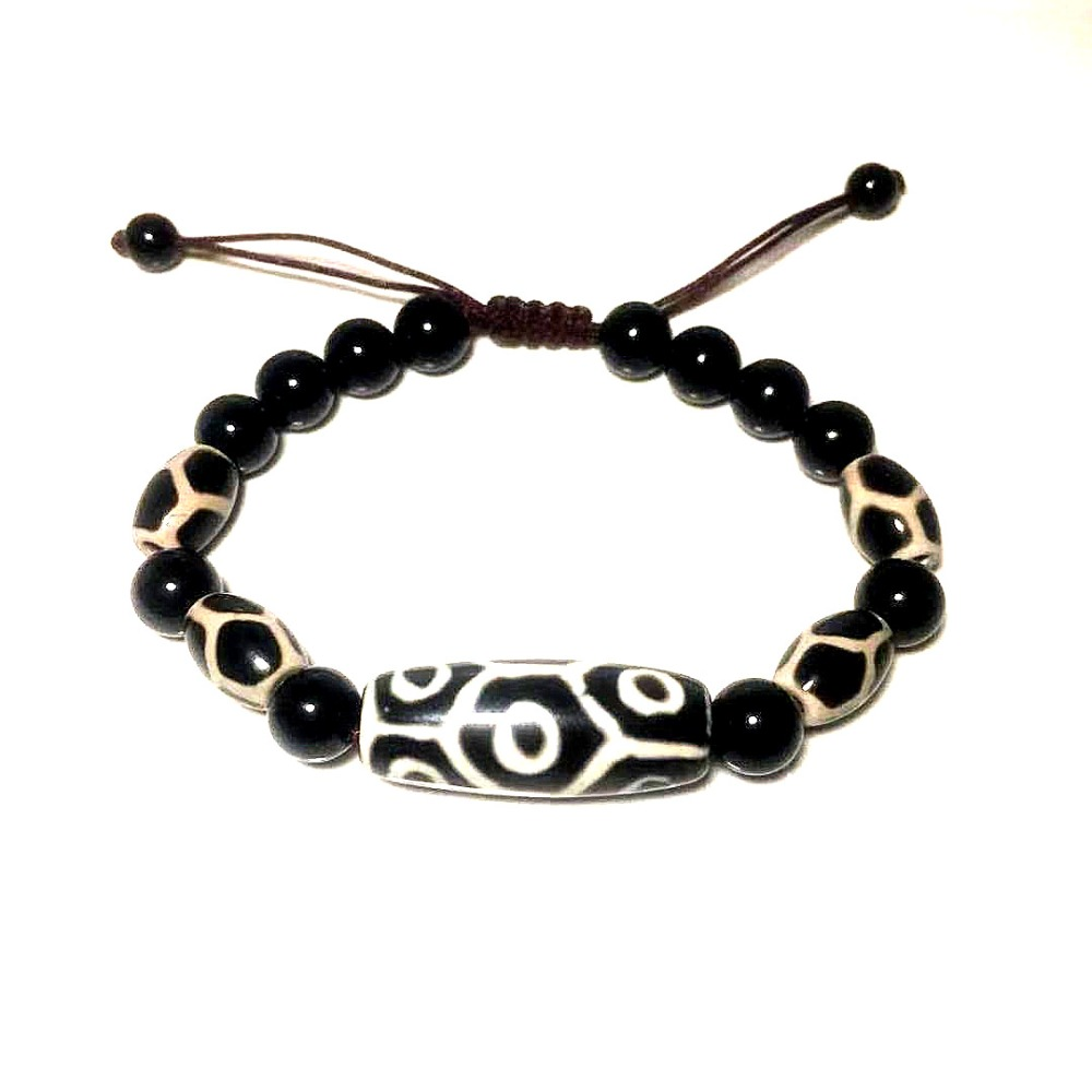 Agate Tortoiseshell  9 Eyes Fengshui DZI Black&white Tortoiseshell Beads Woven Bracelet Men And Women Jewelry Free Shipping