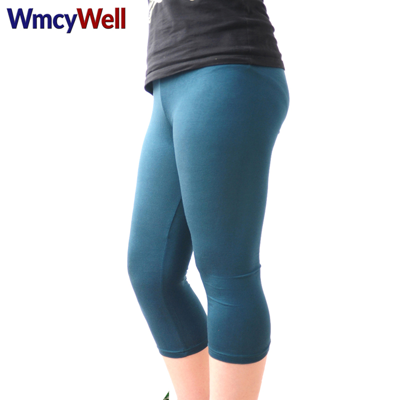 WmcyWell Women's   Capri     Pants   Large Size Super Stretch and Comfy High Waisted Summer Candy Color Female Elastic   Pants