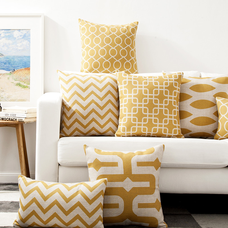 decorative throw pillows case gold color wave linen cushion covers for sofa home cushion cover for