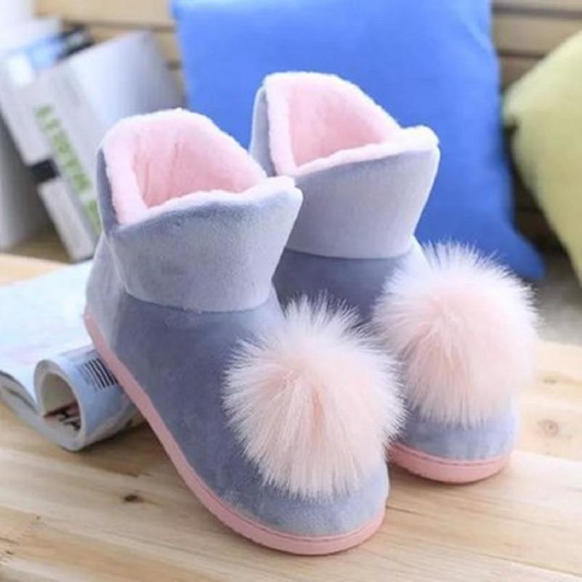 Lovely Ladies Crystal Plush Home Slippper Warm Boots Floor Boots Genuine Cony Hair Inner Balls Women