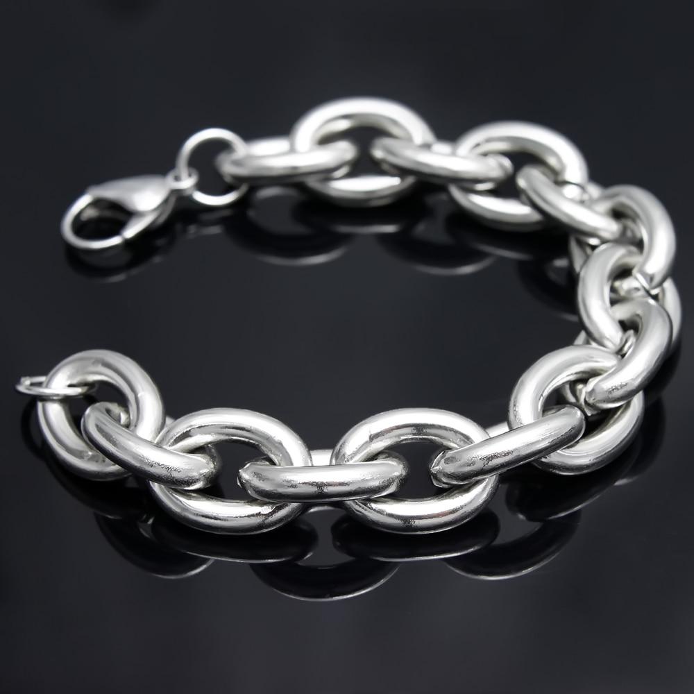 Оптом/В розницу! 23 см* 17,5 мм 69,5 г новые серебряные цепочки из нержавеющей стали браслет для мужчин/мальчиков, низкая цена лучшее качество