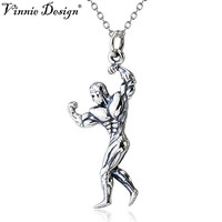 Vinnie Design Jewelry 925 Sterling Silver Necklace with Muscle Men Pendant Bodybuilder Fitness Jewelry 45cm Link Chain Necklaces