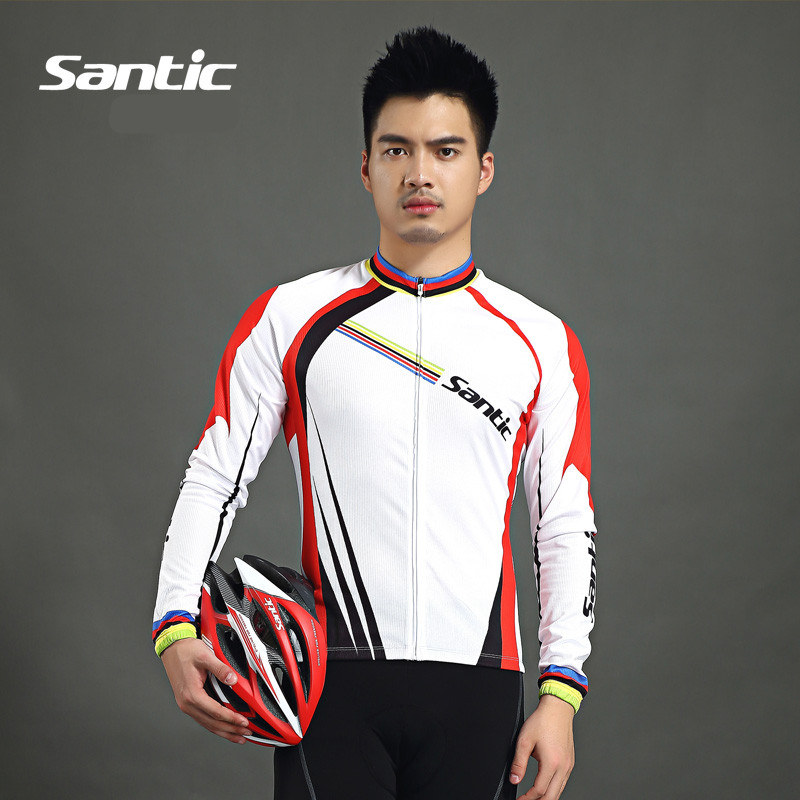 Santic Men Cycling Long Sleeve Jerseys Cycling Summer Jersey Bike Jersey Cycling White Breathable Wear WMC01028 aubig cool unisex ladies men summer breathable elasctisch cycling clothing full zip jerseys radshorts suit