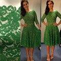 Verde Lace Curto Mãe dos Vestidos de Noiva Mangas Três Quater Tea Comprimento 2017 Mulheres Vestidos Formais vestidos de festa