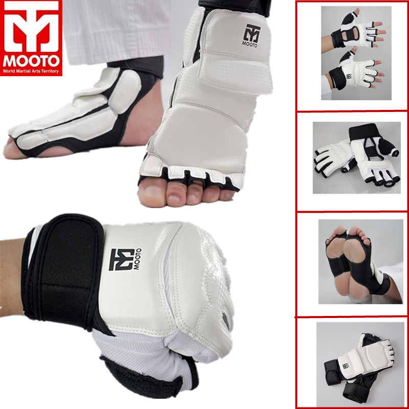 MOOTO/GP Taekwondo Glove Foot Protector Karate Sparing Hand Feet Guard TKD Ankle Guard Martial Arts Protection Half Finger Glove