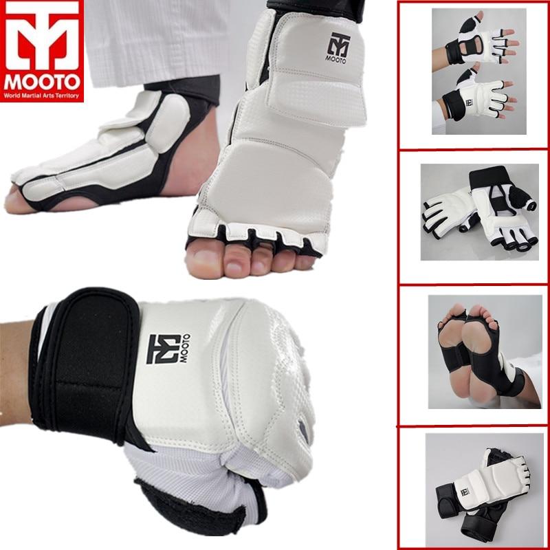 MOOTO/GP Taekwondo Glove Foot Protector Karate Sparing Hand Feet Guard TKD Ankle Guard Martial Arts Protection Half Finger Glove