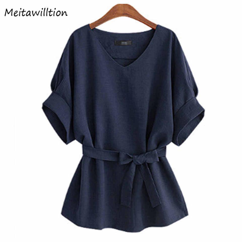 2018 חדש בתוספת גודל חולצות גבירותיי חולצה חולצות פשתן טוניקת נשים V צוואר גדול קשת קיץ העליון קצר שרוול רופף נקבה למעלה נשים 5XL