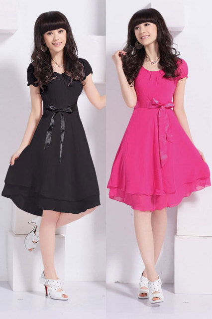 Fashion new arrival Hotnew Lady Style Tiered Sleeve Chiffon Knee Length Pleated Slim Waist Dress free shipping