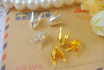 50 unids/lote 8*17mm oro plata filigrana flor tapas cuentas de metal sombrero tapas