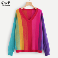 Dotfashion V Neck Color Block Jumper Ladies Casual Autumn New Style Long Sleeve Clothing Spring Multicolor Pullovers Sweater