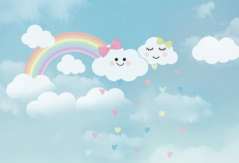 Light Blue Sky Rainbow Emoji white Clouds Bow Backgrounds Vinyl cloth High quality Computer printed wall photo backdrop