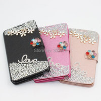 Luxury Diamond Bling Phone Wallet For Samsung Galaxy Note 3 Lite Neo N7505 Phone Cover Flip