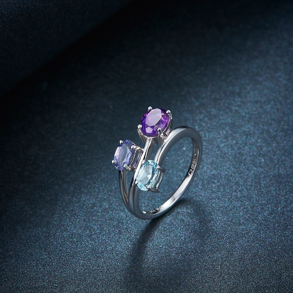 Natural Amethyst Gemstone 925 Sterling Silver Ring Jewelry Size P