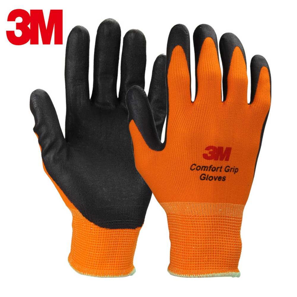 Genuine 3M Protective Gloves Breathable Wear-resistant Non-slip Leather Work Gloves Comfortable Coated Gloves Orange racmmer cycling gloves guantes ciclismo non slip breathable mens