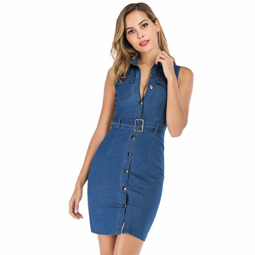 платье летнее женское мода 2019 джинсовое платье без рукавов бандалетки для бедер летние платья больших размеров одежда обтягивающее платье на пуговицах повседневное платье с поясом 19302