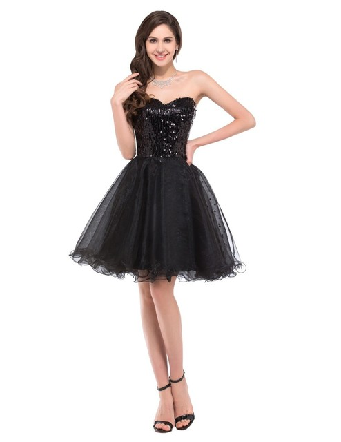 2017 Real Sweetheart Tulle Sequin Sexy Black Cocktail Dresses Shining Short Prom Party Dress 2017 New