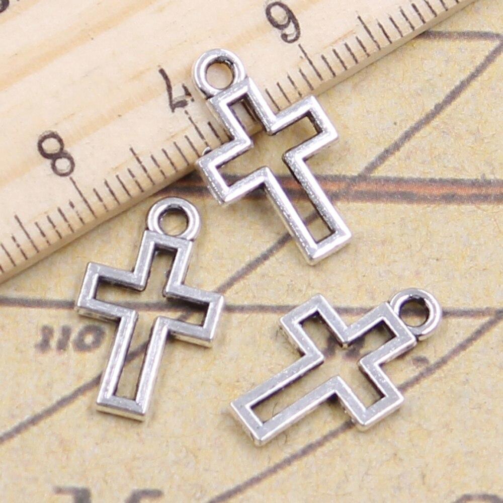 30pcs/lot Charms Hollow Lovely Cross 17x10mm Antique Silver Color Pendants Making DIY Handmade Tibetan Finding Jewelry Bracelet