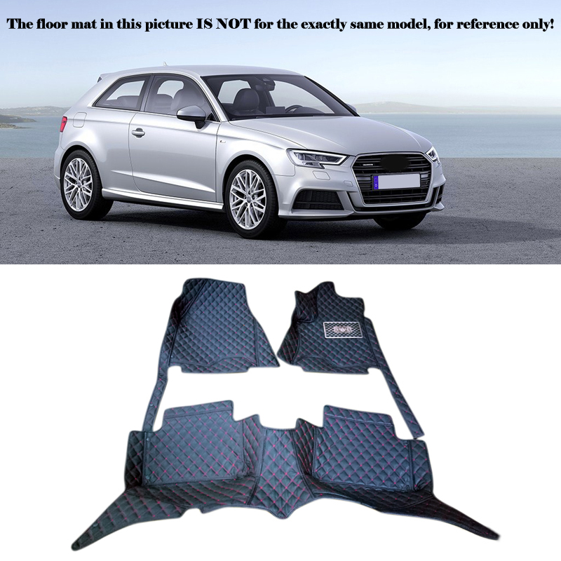 Interior Leather Floor Mats & Carpets 1set Right left hand drive For Audi A3 8V 2014 2015 2016 for opel zafira left drive firm pu leather wear resisting car floor mats black brown grey custom made waterproof carpets