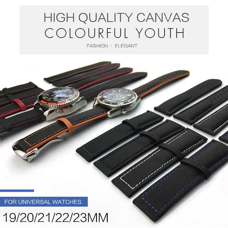 19 20mm 21 22mm 23mm Nylon Leather Canvas Watchband For Omega Watch Strap for Citizen for Carrera for IWC Bracelets Accessories19 20mm 21 22mm 23mm Nylon Leather Canvas Watchband For Omega Watch Strap for Citizen for Carrera for IWC Bracelets Accessories