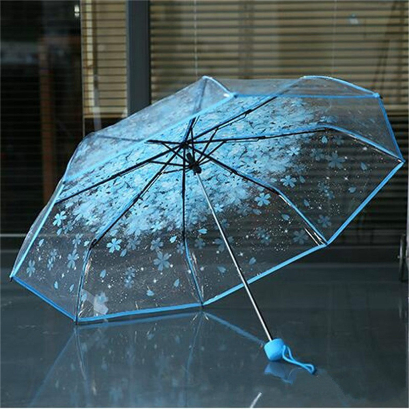 Faithful 1pc Three Fold Umbrella Women Transparent Clear Cherry Blossom Mushroom Apollo Sakura Folding Sunshade Rain Umbrella 2019 As35 Outdoor Furniture