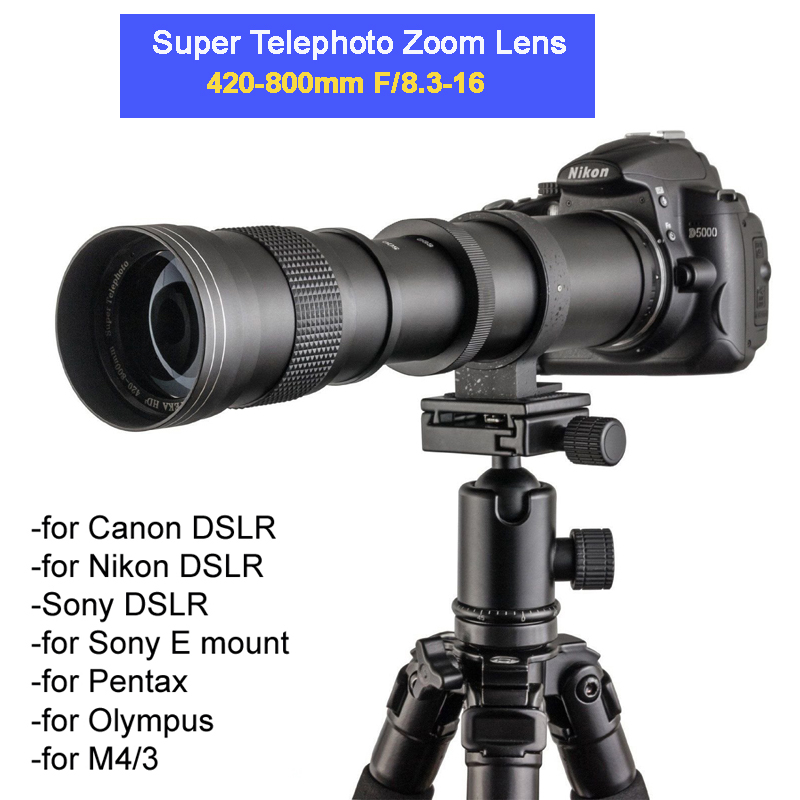 цена на 420-800mm F/8.3-16 Manual Super Telephoto Zoom Lens +T2 Mount Ring Adapter for DSLR Canon Nikon Pentax Olympus Sony A6300 A7