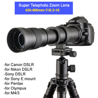 420 800mm F/8.3 16 Manual Super Telephoto Zoom Lens +T2 Mount Ring Adapter for DSLR Canon Nikon Pentax Olympus Sony A6300 A7