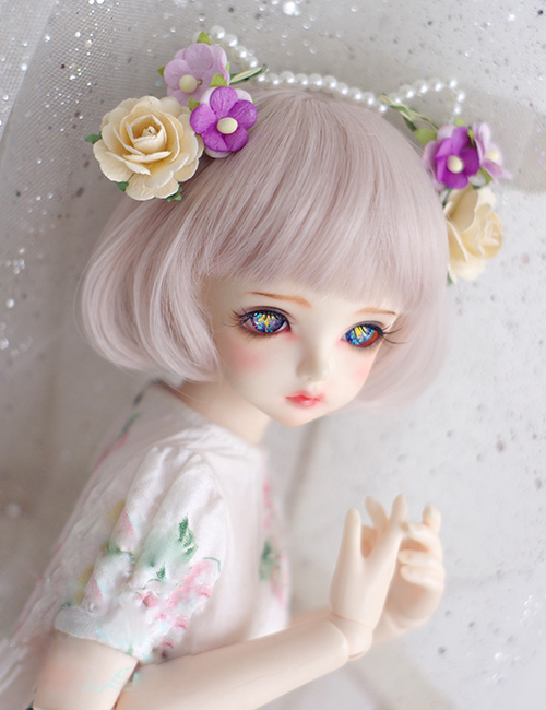 BJD Doll Wigs Silver Pink Mixed Straight Bang Wigs Mushroom Hairstyle For 1/3 1/4 1/6 BJD DD SD MSD YOSD Doll Mid-length Wig