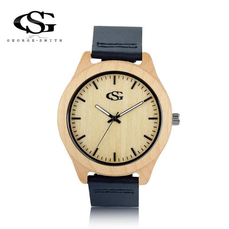 2016 Luxury GS Brand Unique Vogue Mens Women Quartz Watches Wooden Outdoor Sport Watches Clock With