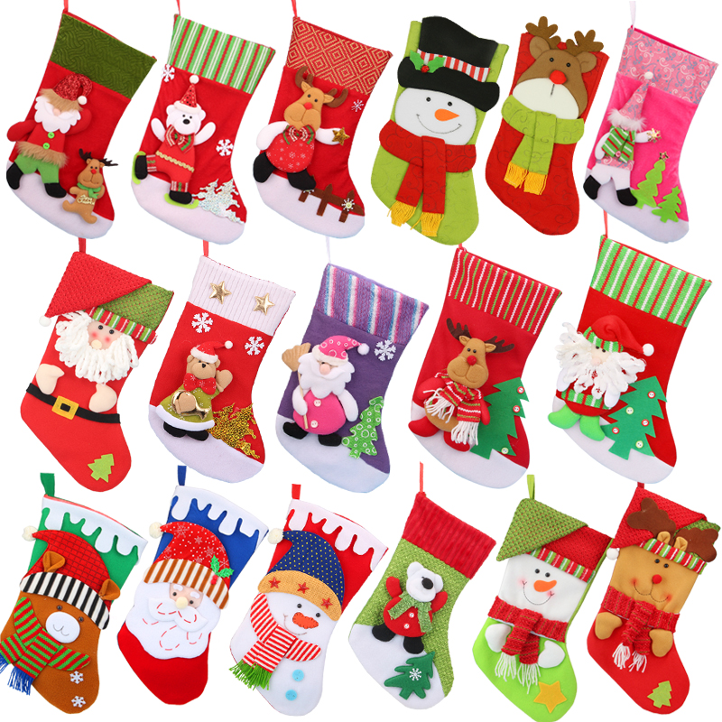 2018 New Christmas Stockings Santa Claus Sock Gift Kids Candy Bag Xmas Noel Decoration for Home Christmas Tree Ornaments