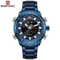 New Men Watches NAVIFORCE 9093 Luxury Brand Men's Full Steel Waterproof Blue Quartz Watch Male Sports LED Analog Digital Clock