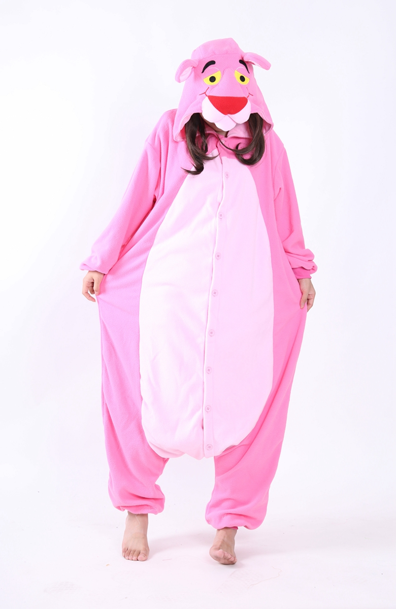 Unisex Fleece Adult Pink Panther Onesies Animal Cosplay Costume Halloween Xmas Pajama ...