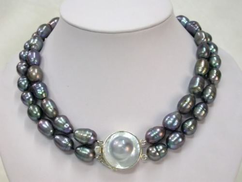 Rare Mabe fermoir 9 - 10 mm riz collier de perles Noble style fin naturel jewe new368 ( C0309 )
