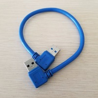 10pcs/lot 90 Degree Right Angle USB 3.0 Type A Male to Male Hard Drive Data Extension Cable Blue 30cm