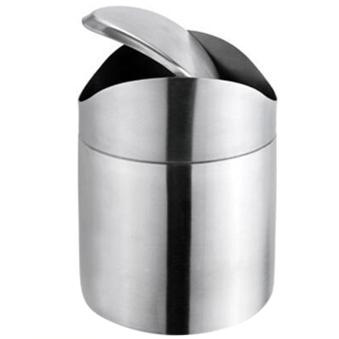 Stainless Steel Swing Lid Mini Trash Can Bin Garbage Box Desktop Storage Barrels Rubbish Silver