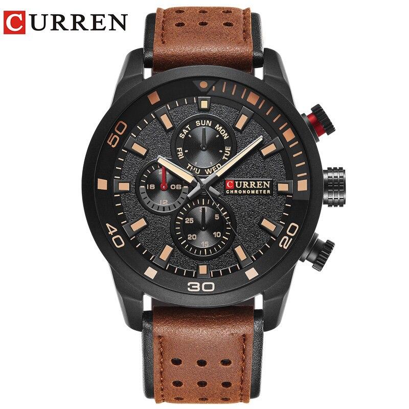 CURREN brand top new fashion casual quartz wrist watch men leather relojes leather strap round  Quartz  Water Resistant 30m 8250 Переносные часы