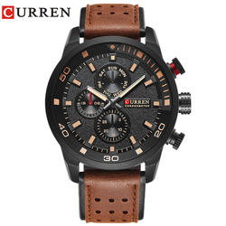 CURREN бренд Топ Новая мода повседневное кварцевые наручные часы для мужчин кожа relojes ремешок Круглый кварц водостойкий 8250