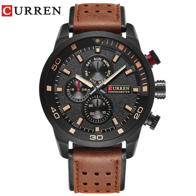 CURREN brand top new fashion casual quartz wrist watch men leather relojes strap round Quartz Water Resistant 8250 fashionable water resistant glow in dark wrist watch black white 1 x lr626