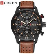 цена на CURREN brand top new fashion casual quartz wrist watch men leather relojes strap round  Quartz  Water Resistant 8250
