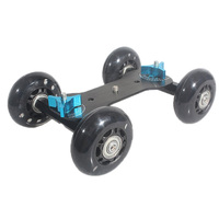 EDT-Mesa Dolly Mini Skater Coches Resbalador de la Pista Mudo Estupendo para la Videocámara DSLR Cámara (Negro)