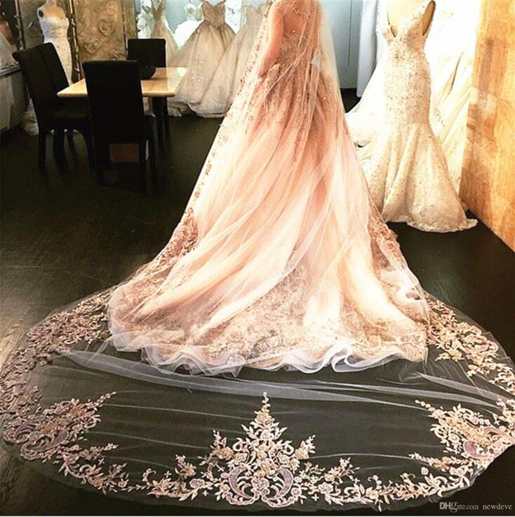 Lace Cathedral Bridal Veils One Layer Long Applique Bead Custom Made High Quality Wedding Veils With Combs Three Color
