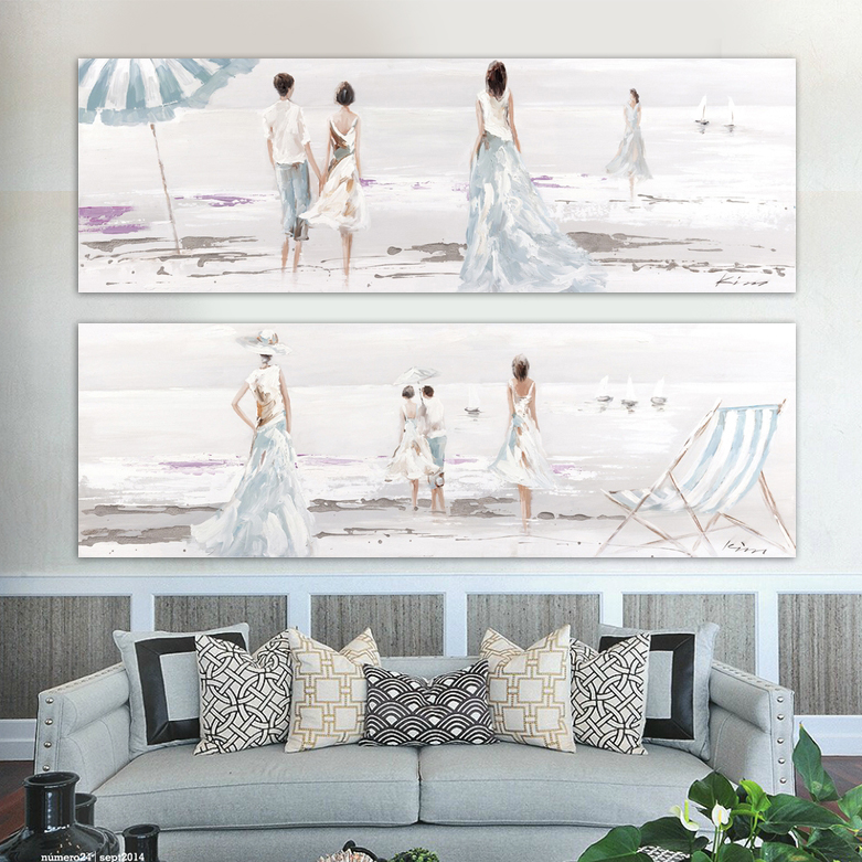 Modern Landscape People hand-painted oil canvas wall art light blue beach couple walking home decor living room bedroom